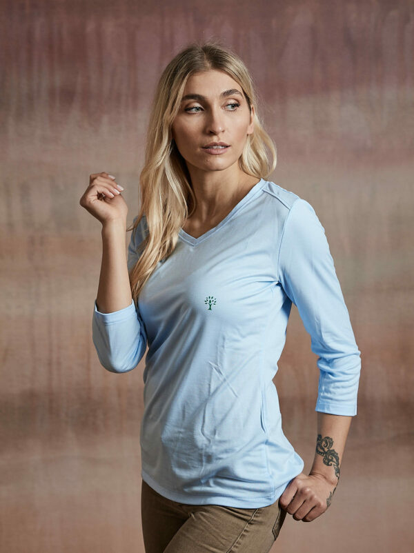 Damen Shirt 3/4-Arm hellblau