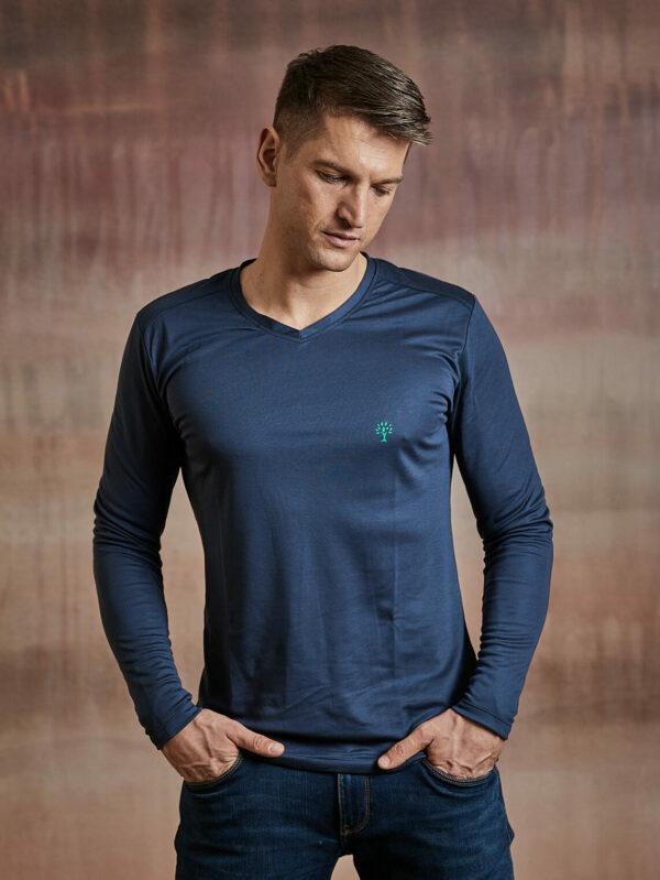 Herren Shirt langarm dunkelblau