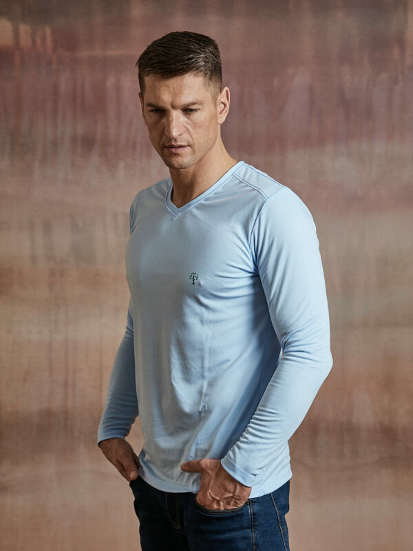 Herren Shirt langarm hellblau