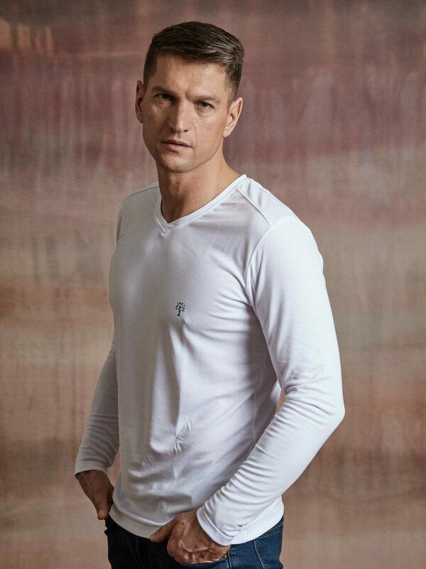 Herren Shirt langarm weiß