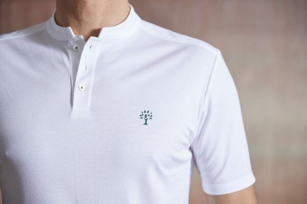 Polo Shirt Herren weiß Detail